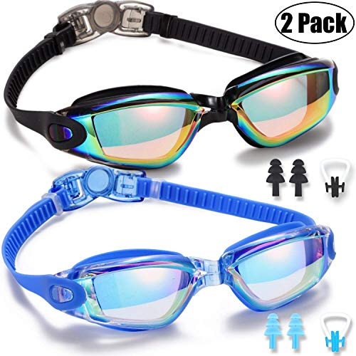 Yizerel Swim Goggles 2 Pack Swimming Goggles for Adult Men Women Youth Kids Child No Leaking Anti Fog UV 400 Protection Waterproof 180 Degree Clear Vision Triathlon Pool Goggles