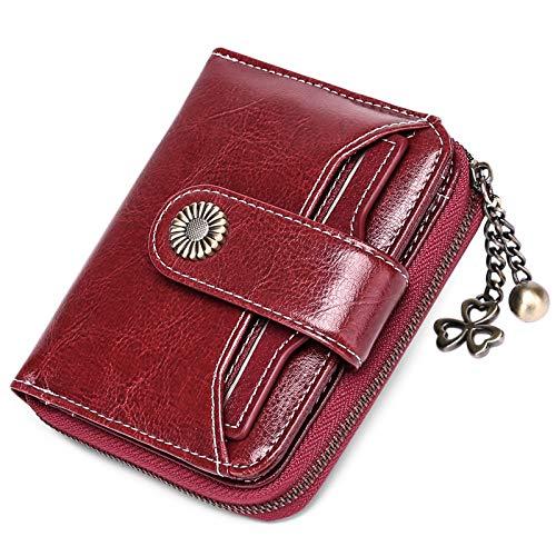 SENDEFN Portafoglio Donna in vera pelle di Blocco RFID in Pelle Corto Portamonete per donna con 8 Scomparti per Carte 2 Finestra di Identificazione,metallo pendente e 1 Tasca con Cerniera