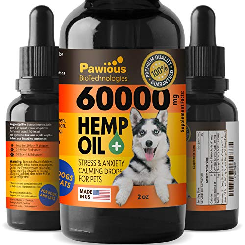Hemp Oil for Dogs & Cats - Large 2oz Bottle, Made in USA - Joint Pain and Anxiety Relief, Arthritis, Seizures - Calming Aid Supplement with Vitamins A, C, E and Omega 3, 6, 9-100% Organic Hemp