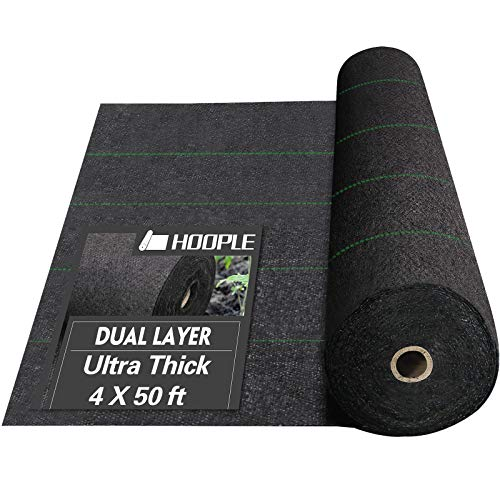 HOOPLE 5Oz Weed Barrier Fabric, Garden Landscape Fabric, Dual Layer Fabric, Cross-Over Design, 4 X 50-Foot,Durable, Heavy Duty Gound Cover with Guide Strip Helps Align Plants. (4 X 50 FT)
