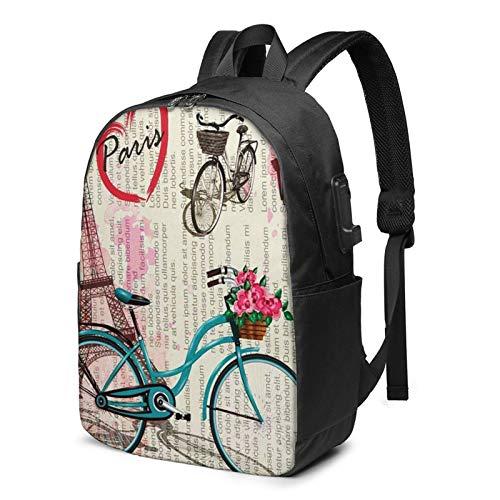 WEQDUJG Mochila Portatil 17 Pulgadas Mochila Hombre Mujer con Puerto USB, Bicicleta Torre Eiffel Paris 53 Mochila para El Laptop para Ordenador del Trabajo Viaje