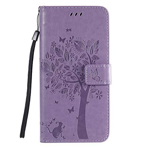 Fatcatparadise Kompatibel mit Huawei Nova 7 Hülle + Panzerglas Schutzfolie, Prägung Muster Schutzhülle PU Leder Handyhülle Wallet Case Flip Hülle Brieftasche Ledertasche (Lavendel)