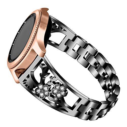 WXWIN Kompatibel Mit Galaxy Uhr 40Mm 44Mm Strap & Gear S3 Armband, Frauen Ersatzschnellspanner 20Mm Metall Bling Schmuck-Bügel Für Galaxy Uhr Active 2 40Mm 44Mm,B,22MM