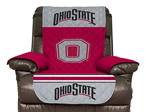 NCAA Ohio State Buckeyes Recliner Reversible Furniture Protector with Elastic Straps, 80 X 65 Inches