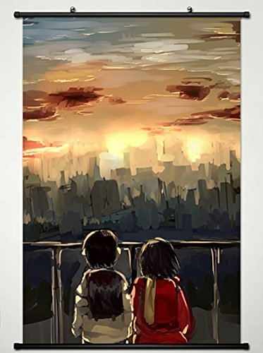 ERASED Wall Scroll Poster Fabric Painting for Anime The Town Where Only I am Missing Kayo Hinazuki & Satoru Fujinuma 11 L