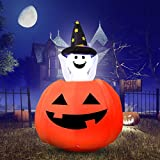 YUNLIGHTS 4ft Halloween Inflatables Ghost Pumpkin Inflatable, Outdoor Blow Up Inflatable Halloween Decorations for Yard Indoor Blow Up Pumpkin Jack-O-Lantern with LED Lights, Stakes, Tethers