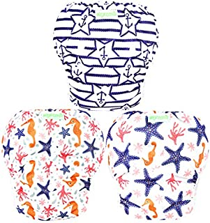 Wegreeco Baby & Toddler Snap One Size Reusable Baby Swim Diaper (Starfish, Large, 3 Pack)