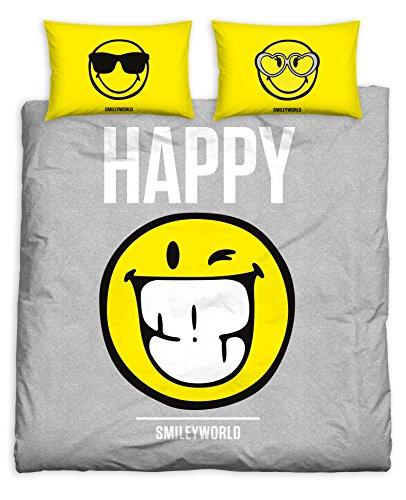 Smiley T & F Set Bettbezug, 100% Baumwolle, Pink/Gelb, für Ehebett, 250x 20080x 5080x 50cm