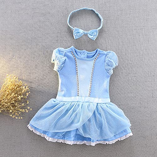 LALAmi Disfraz de princesa para bebé, Halloween, cosplay, mono de manga corta, con tocado para bebé, 80 cm