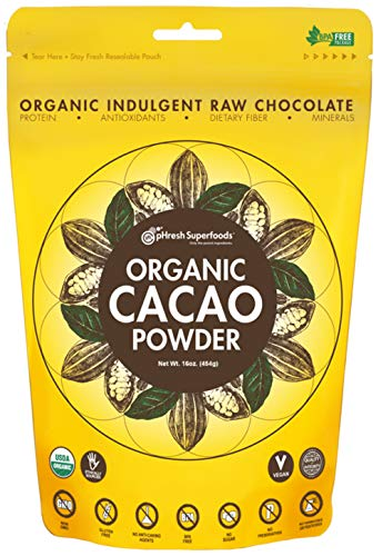 pHresh Superfoods Premium Cacao Powder - Great Taste Unsweetened Healthy Rich Dark Chocolate 453.59g (16oz) - Certified 100% Organic Vegan Keto Gluten Free Non-GMO – Amino Acids Protein Fiber