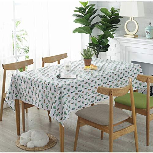 AOyEKXD Tischdecke Kaktus Sukkulenten Baumwolle Und Leinen Tischdecke Dekorative Stoff Schießen Hintergrund Tuch 55X79in-140X200 cm