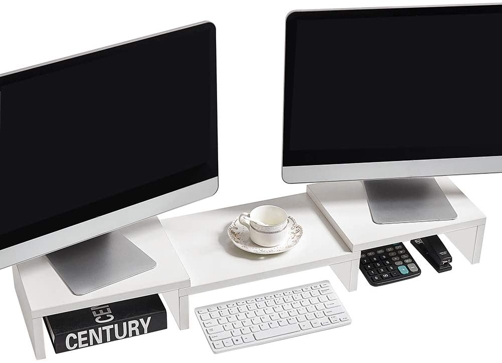 SUPERJARE Dual Monitor Stand Riser, Adjustable Length and Angle Multi Screen Stand, Desktop Stand Storage Organizer for Laptop Computer/TV/PC/Printer- White