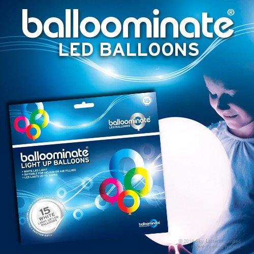 Balloominate weiße LED leuchten Ballons. Ideal für Partys und Feiern (15 Pack)