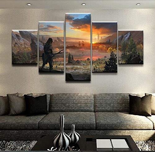Decorsy Impresiones sobre Lienzo Aloy Horizon Zero Dawn Game Wall Art Canvas Painting HD Print 5 Piece Wall Art For Living-150X80Cm -Enmarcado