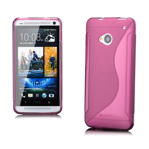 iCues HTC One M7 |  S-Line TPU Case Rosa | [Display Schutzfolie Inklusive] Transparent Klarsichthülle Durchsichtig Klare Klarsicht Silikon Gel Schutzhülle Hülle Cover Schutz