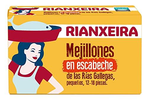 RIANXEIRA. Mejillones en Escabeche Pequeños. Mejillones de las Rías Gallegas. D.O.P. Mejillón de Galicia.
