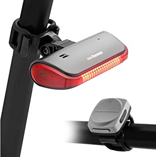 nubeam NB-600 Bike Bicycle Turn Signals, Anti-Theft Alarm, Tail Light, Electronic Bell Horn, USB Charging Rechargeable, Wireless (Color : Dark Silver)