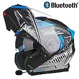 JohnnyLuLu Integrierter Bluetooth-Motorrad Klapphelm, Persönlichkeit Kreative Motorrad Roller Chopper Racing Sport Modularer Helm mit Doppelvisier für Vier Jahreszeiten,C,L