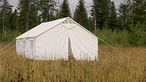 Elk Mountain Tents Outdoor Large Canvas Waterproof Wall Tent and Angle Kit with Screened Windows and Stove Pip Jack for 10 Person Tent, Best for Family Camping and Hunting Trip - 13x20 - with Awning