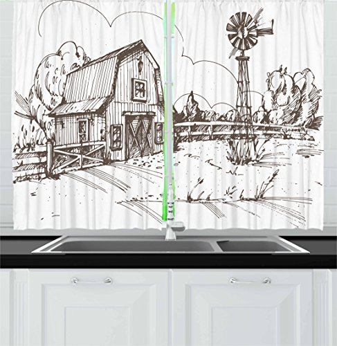 Ambesonne Windmill Kitchen Curtains, Rustic Barn Farmhouse Hand Drawn Illustration Countryside Rural Meadow, Window Drapes 2 Panel Set for Kitchen Cafe Decor, 55' X 39', Taupe