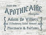 Shabby Chic Schablone Apothicaire - französische vintage Schrift
