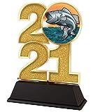 Trophy Monster Trofeo de pesca 2021 de 85 mm de oro, plata o bronce, hecho de acrílico impreso, elegir entre 4 tamaños