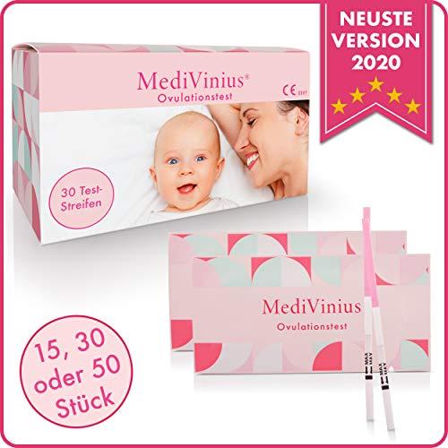 MediVinius® - Ovulationstest mit sicherem Ergebnis - Fruchtbarkeitstest für Frauen mit Kinderwunsch [25 MiU/ml] - einfache Anwendung (30)