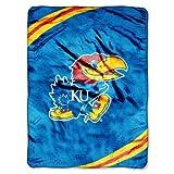NCAA Kansas Jayhawks Force Royal Plush Raschel Throw Blanket, 60x80-Inch