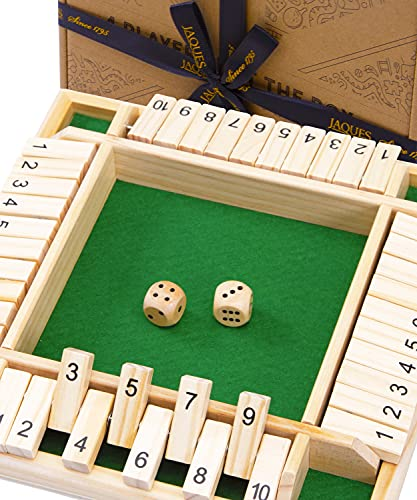 Jaques of London Deluxe Shut the Box   Dependable Board Games   Luxury 4 Player Shut the Box Game   Perfect Wooden Toys   Top Dice Games   Ultimate Educational Toys For 3 4 5 6 Year Olds   Since 1795