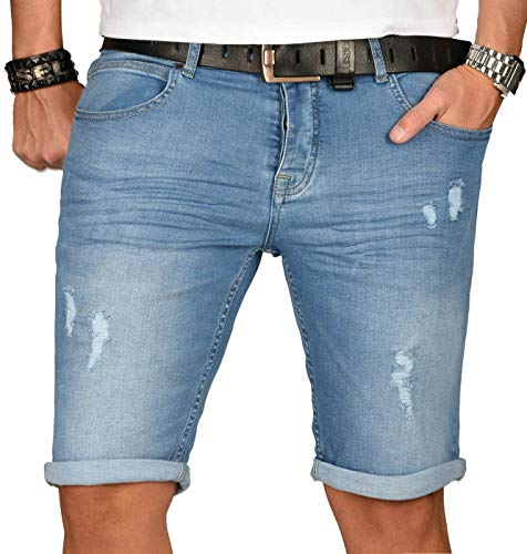 A. Salvarini Herren Designer Jeans Short Kurze Hose Slim Sommer Shorts Washed [AS-144-W32]