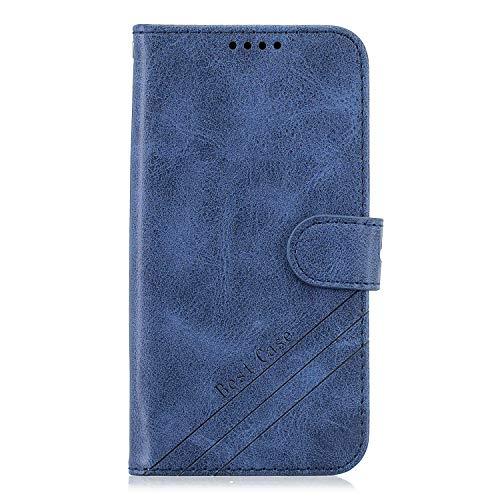 DEHX010766 - Funda de piel tipo cartera para Samsung Galaxy A81, M60S, Note 10 Lite, con función atril, cierre magnético, con ranuras para tarjetas, color azul
