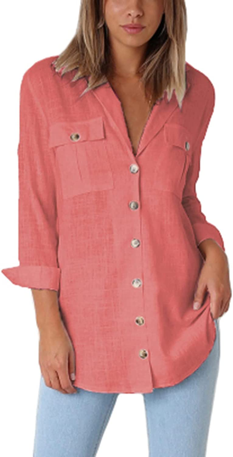 GRAPENT Womens Casual Loose Roll-up Sleeve Blouse Pockets Button Down Shirts Tops