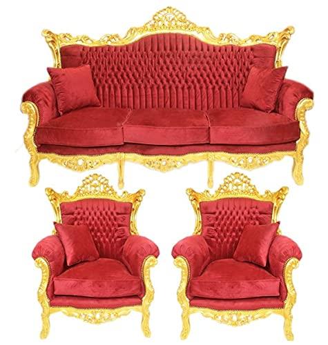 Casa Padrino Barock Wohnzimmer Set Bordeaux Samtstoff/Gold - 3er Sofa + 2 Sessel