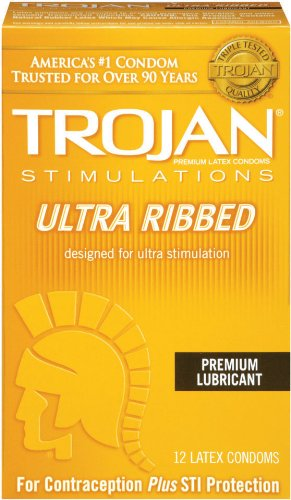 Trojan Stimulations Ultra Ribbed Lubricated Condoms, 12 Count