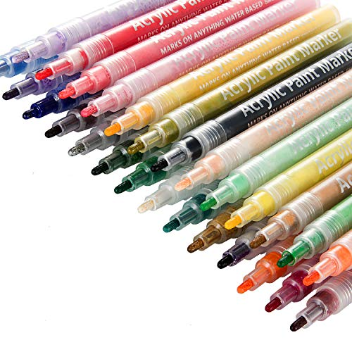 Paint Pens 28 Colors, POZEAN Acrylic Paint Pens for Kids, Paint Markers for DIY Painting Supplies, Rocks Painting, Ceramic, Wood, Canvas, Fabric, Mugs, Glass and More