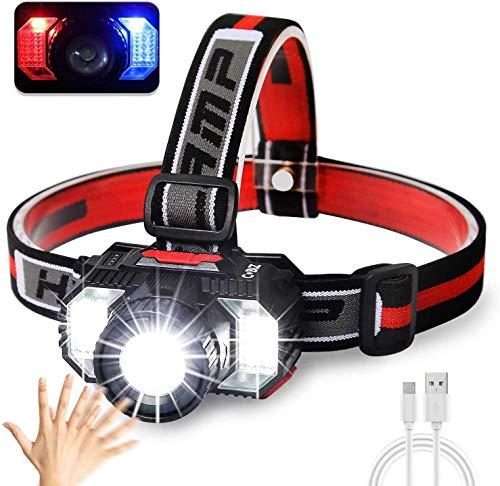 Superhelle USB Aufladbare LED Stirnlampe - Wasserdichtes Kopflampe mit Weiß & Rotlicht Licht - Komfortable Kopfleuchte Beste Ausrüstung Für Laufen, Camping, Jagd - Kinder Erwachsene, 2 Jahre Garantie
