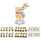 Unishop Cumpleaños Globos Foil Metálico Globo Número Gigante Oro Plata Globos para Fiesta de Cumpleaños Aniversarios Globos Numeros para Cumpleaños Fiesta Decoración (Arco iris 5)