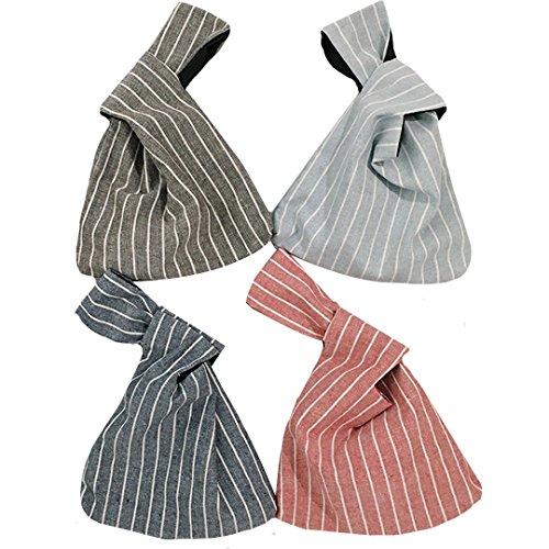 ABBY Lot de 4 Sacs à vent japonais sac poignet en linge poignet d'attelage simple sac portable minimaliste pour clé,téléphone