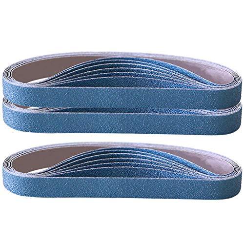 JJDD Cinturones de lija de tela de zirconia, 20 unidades de 3/8 x 13 pulgadas, cinturones de archivos de aire de grano 80 para lijadoras neumáticas