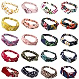 20 Pack Women Headbands with Twist Knot Boho Flower Print Criss Cross Head Wrap Elastic Hair Band - A