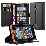 Cadorabo Hülle für Nokia Lumia 532 - Hülle in Phantom SCHWARZ – Handyhülle mit Kartenfach & Standfunktion - Case Cover Schutzhülle Etui Tasche Book Klapp Style