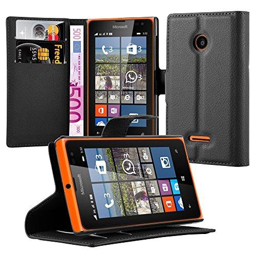 Cadorabo Hülle für Nokia Lumia 532 in Phantom SCHWARZ - Handyhülle mit Magnetverschluss, Standfunktion & Kartenfach - Hülle Cover Schutzhülle Etui Tasche Book Klapp Style