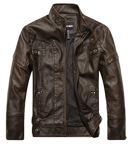chouyatou Men's Vintage Stand Collar Pu Leather Jacket (Large, DZQM769-Coffee)