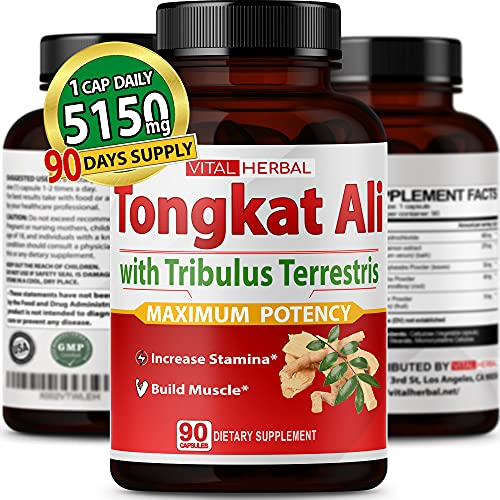 Tongkat Ali Capsules Equivalent to 5150mg - Maximum Strength with Ashwagandha Tribulus Terrestris Panax Ginseng Horny Goat Weed for Men Women- Increase Energy Build Muscle - 90 Days Supply