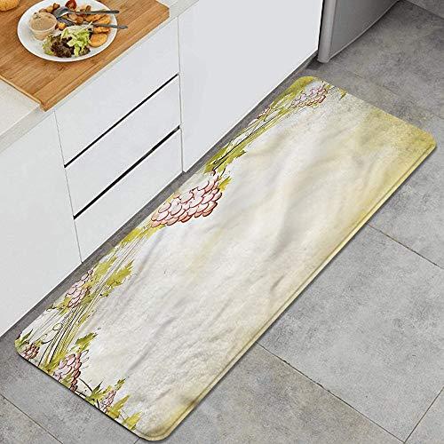 QINCO Anti Fatiga Cocina Alfombra del Piso,All Season Grapevine Vintage,Antideslizante Acolchado Puerta Habitación Bañera Alfombra Almohadilla,120 x 45cm