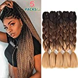 5 Pack Ombre Braiding Hair, 24' Premium Kanekalon Braiding Hair Extensions, Jumbo Xpressions Braiding Hair(Black-Dark Brown-Light Brown)