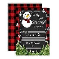 AmandaCreation 雪だるま 楽しい 黒板 雪だるま サンキューカード 10枚入り 白封筒10枚付き
