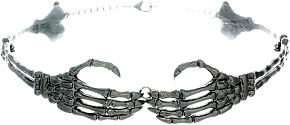 Western F.a.s.h.i.o.n Skeleton Hands Metallic Choker