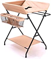 CHYEC Baby Portable Changing Dresser Station Unit, Beige, Foldable Diaper Table for Newborn, Waterproof Oxford Cloth