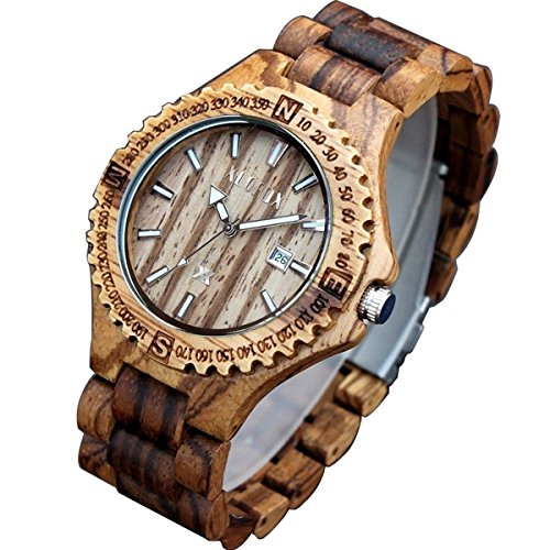 XLORDX Classic Herren Holz ZebraHolz Braun Datum Armbanduhr Quartz Analog
